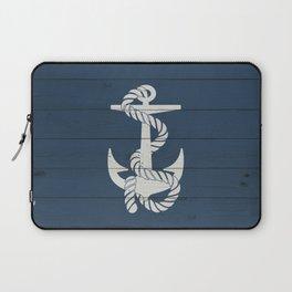 Blue Wood Anchor Laptop Sleeve