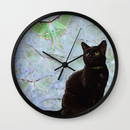 Luna Cat Gray Wall Clock