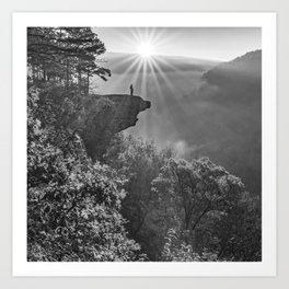 Sunrise View From Hawksbill Crag - Black and White 1x1 Art Print