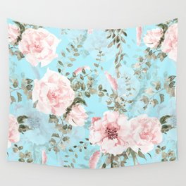 Blush Watercolor Spring Florals On Teal Wall Tapestry