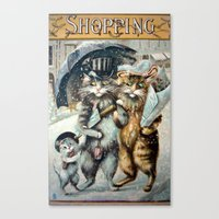 shopping Canvas Prints featuring Shopping by Frankie Cat
