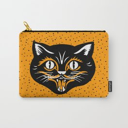 Vintage Type Halloween Black Cat Face Stars Orange Carry-All Pouch