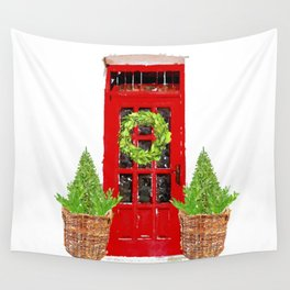 Red Christmas Door with Boxwood Wreath Wall Tapestry