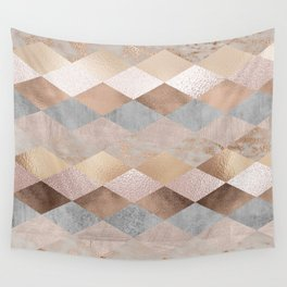 Copper and Blush Rose Gold Marble Argyle Wall Tapestry