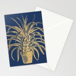 Gold houseplant on navy peony Stationery Cards