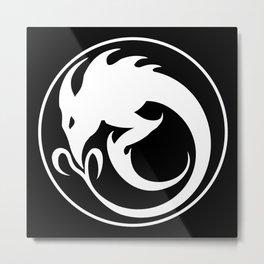 Sliver Ouroboros Symbol -White- Metal Print