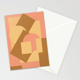 Geometrical abstract mash-up soft earth colors Stationery Cards
