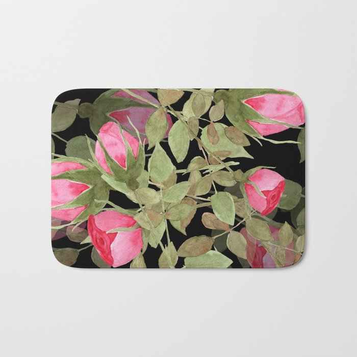 The buds of tender roses on a black background . Retro . Bath Mat