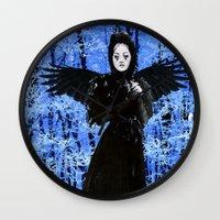 edgar allan poe Wall Clocks featuring Nevermore - Edgar Allan Poe by Danielle Tanimura
