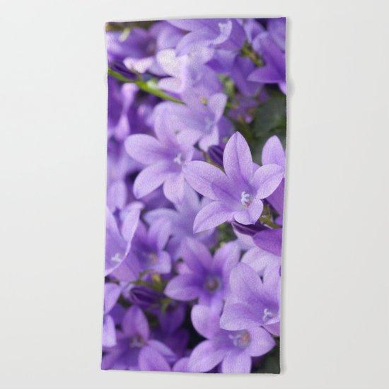DREAMY - Purple flowers - Bellflower in the sun #1 Beach Towel