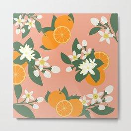 Orange Blossom Pattern Metal Print