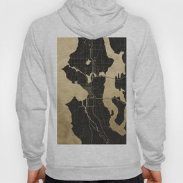 Seattle Black and Gold Map Hoody