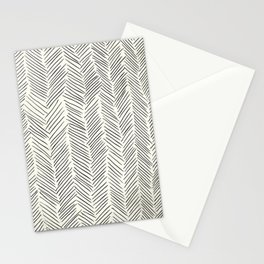 Herringbone Black on Cream Stationery Cards