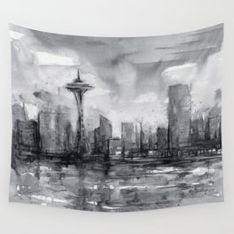 Seattle Skyline Painting Watercolor Black and White Space Needle Wall Tapestry