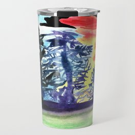 Tree line Ship on the Darkest Night covered in colors and drenched in Swag Travel Mug