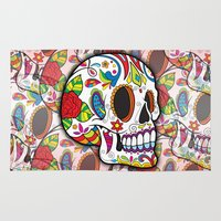 sugar skulls Area & Throw Rugs featuring Sugar Skulls by Spooky Dooky