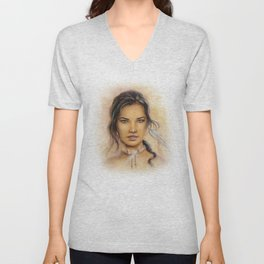 Native American Woman Unisex V-Neck