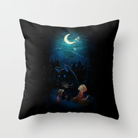 camping Throw Pillows featuring Camping 2 by Freeminds