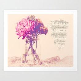 Dahlias with French Script Art Print