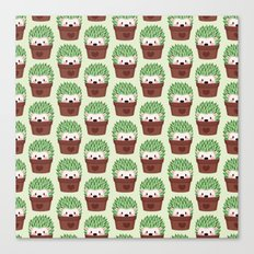 Hedgehogs disguised as cactuses Canvas Print