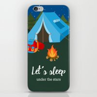 backpack iPhone & iPod Skins featuring Camping blue tent by Juliana RW