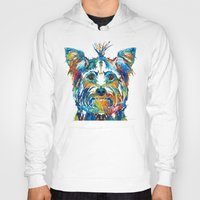yorkie Hoodies featuring Colorful Yorkie Dog Art - Yorkshire Terrier - By Sharon Cummings by Sharon Cummings