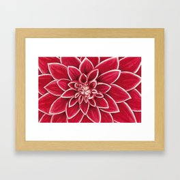 Red Dahlia close up watercolor christmas design Framed Art Print