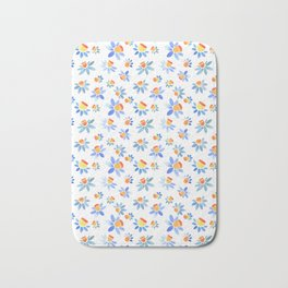 Stylized ornament with the image of daffodils. Bath Mat