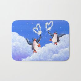 penguins spread love with sparklers Bath Mat