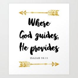 Isaiah 58:11 Bible Verse Art Print