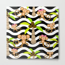 Cute Monkeys on wave stripe background. Metal Print