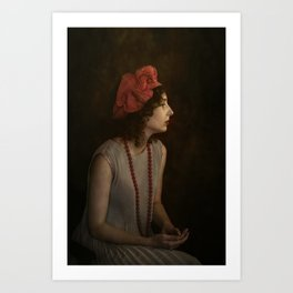Girl with red necklace Art Print