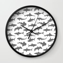 Grey Sharks Wall Clock