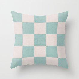 robins egg blue checks Throw Pillow