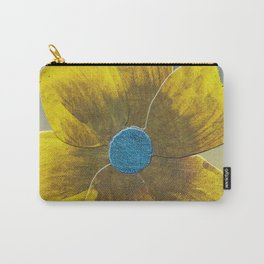 Yellow Flower on Blue Carry-All Pouch
