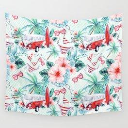 Retro 60s Bus, Surfboard, Bikini, Palm Trees, Beach Scene Wall Tapestry