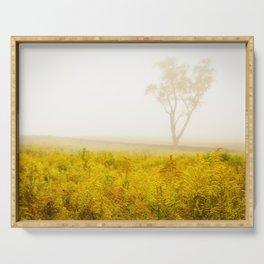 Rural / Floral Landscape Photo Dreams of Goldenrod and Fog Serving Tray