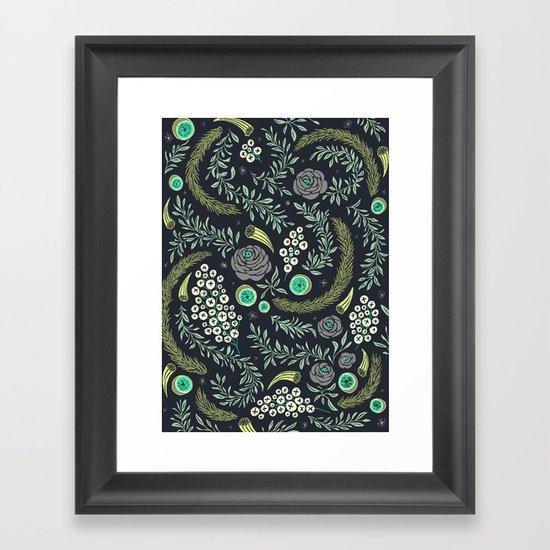 Winter's Eve Floral Framed Art Print