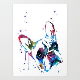 Bulldog, Bulldog peeking Art Print