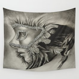 masquerade mask girl Wall Tapestry