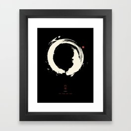 Black Enso / Japanese Zen Circle Framed Art Print