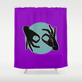 Sign Language (ASL) Interpreter – Black on Turquoise 06 Shower Curtain