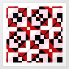 Red Black and White Abstract Art Print