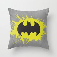 bat man Throw Pillows featuring Bat Man by Some_Designs