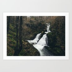 Colwith Force waterfall during heavy rain. Cumbria, UK. Art Print