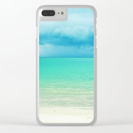 Blue Turquoise Tropical Sandy Beach Clear iPhone Case