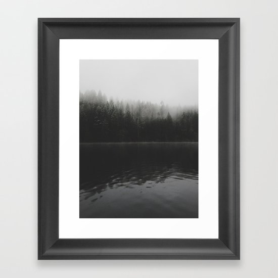 Verticle Frosted Trees Lake Framed Art Print