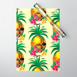 Pineapple Tropical Sunset, Palm Tree and Flowers Wrapping Paper