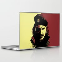 metal gear solid Laptop & iPad Skins featuring Big Boss (naked snake from metal gear solid) by TxzDesign