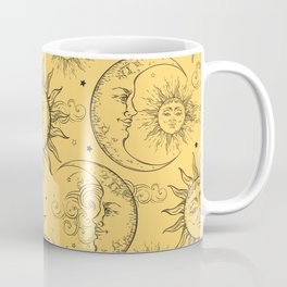 Yellow Magic Celestial Sun Moon Stars Coffee Mug